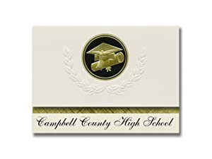 Signature Announcements Campbell County High School (Gillette, WY) Graduation Announcements, Presidential style, Elite package of 25 Cap & Diploma Seal Black & Gold