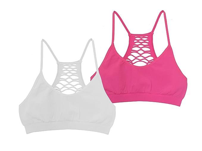 ddbe7dc526 Amazon.com  Popular Girl s Seamless Lattice Racerback Bralette  Clothing