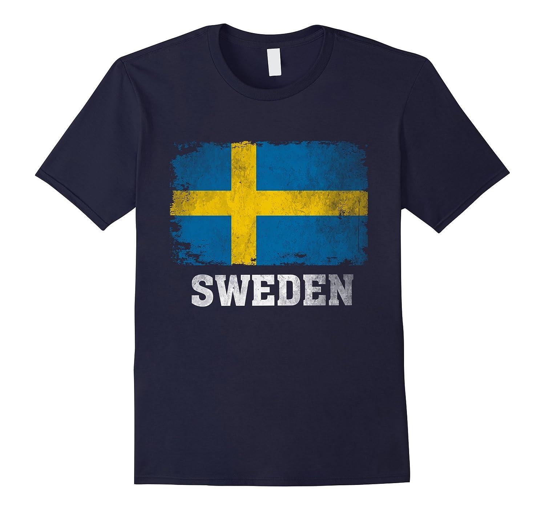 Sweden Swedish Flag Vintage Distressed Aged Look T-Shirt.-BN