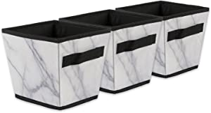 DII Polyester BIN Marble White Trapezoid Small Set/3 Laundry Basket