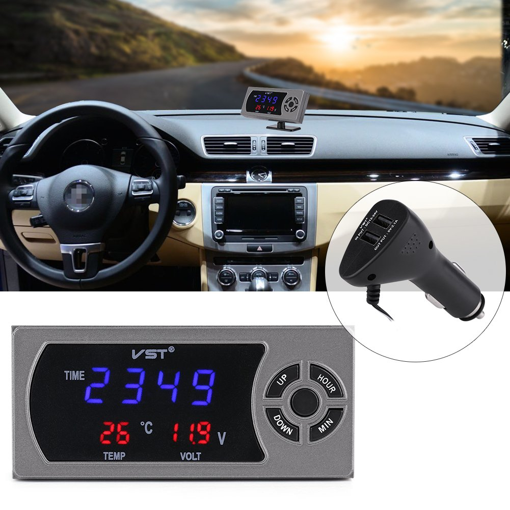 12-24V Car Digital Thermometer Voltmeter Clock Display with 2.1A Dual USB Charger