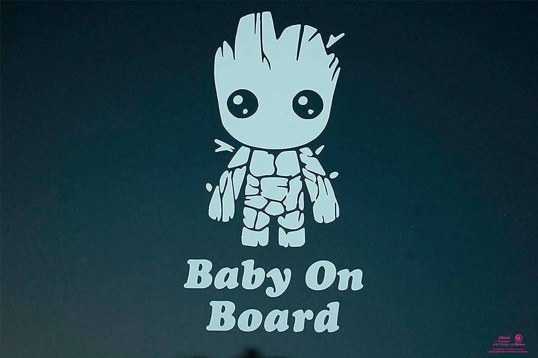 Artstickers Pegatina Baby on Board Groot, Pegatina Bebe a Bordo. Color Blanco Regalo Adhesivo Spilart, Marca Registrada