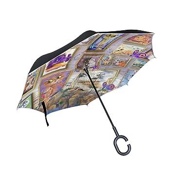 Mi Diario Doble Capa Paraguas invertido coches Reverse paraguas gatos galería pintura Halloween resistente al viento