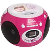 Lexibook Mattel Barbie Radio CD player, heapdhones jack, aux-in jack, AC or battery-operated, Pink/White, RCD102BB