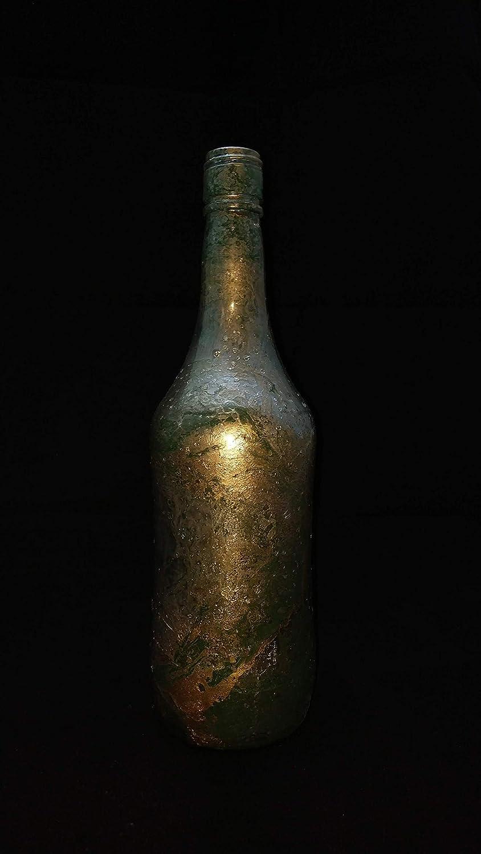 Botellas con suerte - Malibu Botella Decorativa Reciclada con Hidroimpresión Color Dorado y Verde - 27 cm: Amazon.es: Handmade