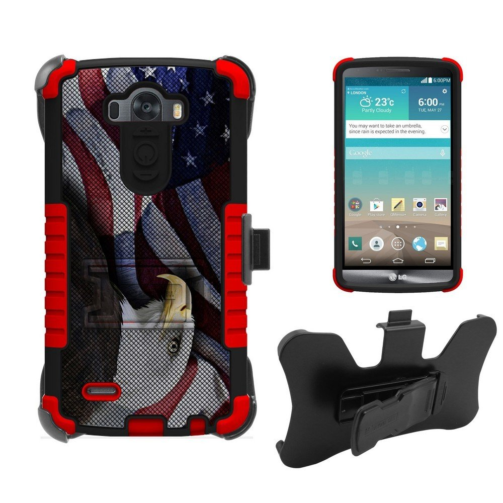 3 in 1 Rugged High Impact Hybrid Anti-Shock Pads Hard + Soft Durable Phone Case With 3 Layer Premium Protection with built in kickstand & Belt Clip Holster Combo for LG G3 (D850/VS985/D851/990)(T-mobile,AT&T,Sprint,Verizon,International)- Eagle With Ameri