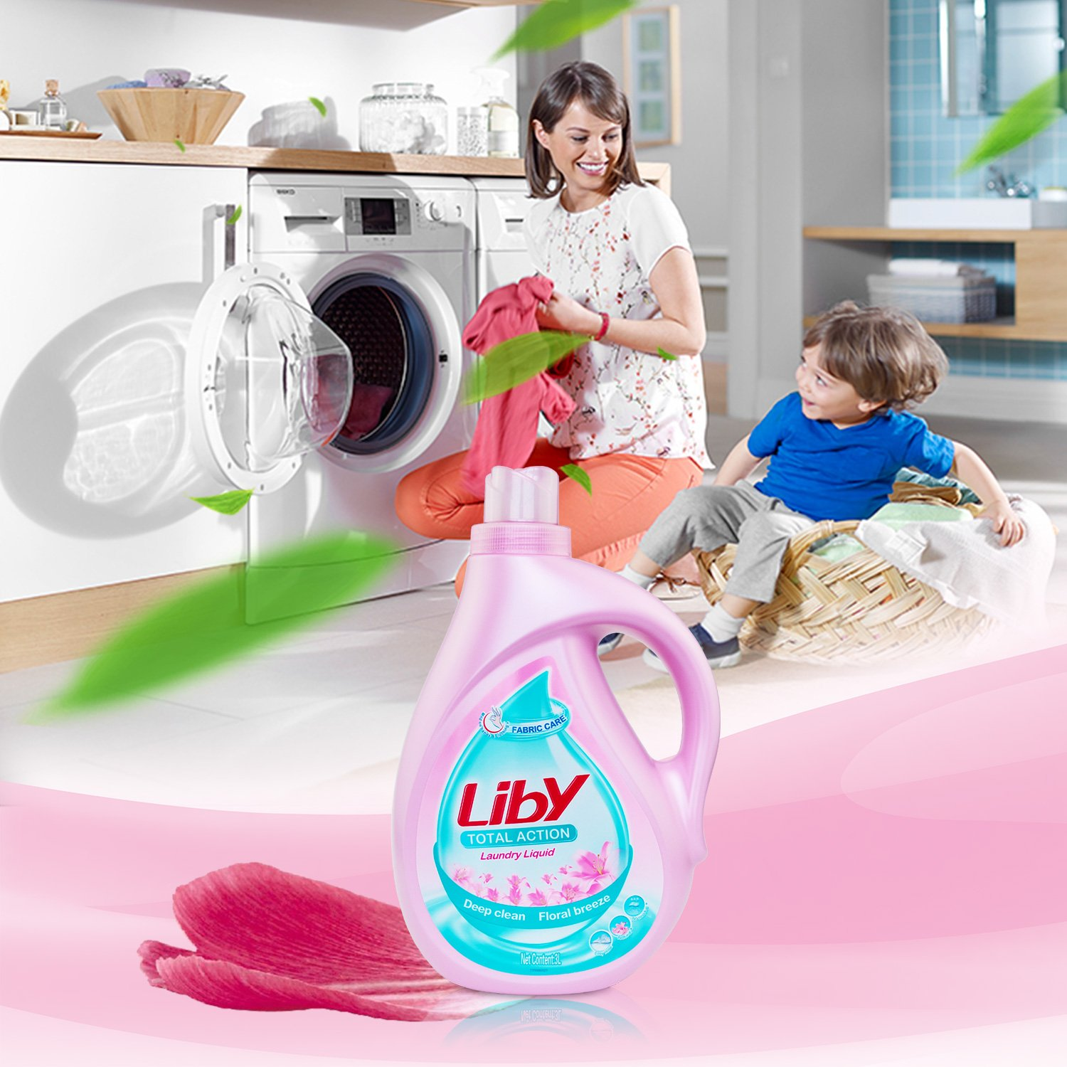 Liby Original Scent HE Turbo Clean Liquid Laundry Detergent (68 Loads), 100 Oz, Pink