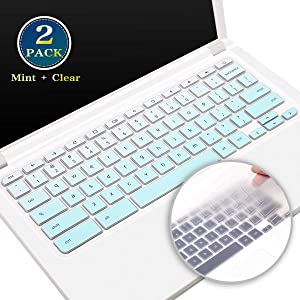 Silicone Keyboard Cover for 2020-2017 Acer Chromebook 14 CB3-431 CP5-471, 15.6 Inch Acer Chromebook 15 CB5-571 CB3-532 CB3-531 C910 SSeries, Acer Chromebook Keyboard Skin(Ombre Mint+Clear)