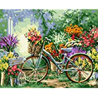 PAINTYTY Dipinto A Mano Frameless By By Numbers Biciclette Fiori Kit Vernice Acrilica By Numbers Dipinto A Mano Pittura A Olio per La Decorazione Domestica