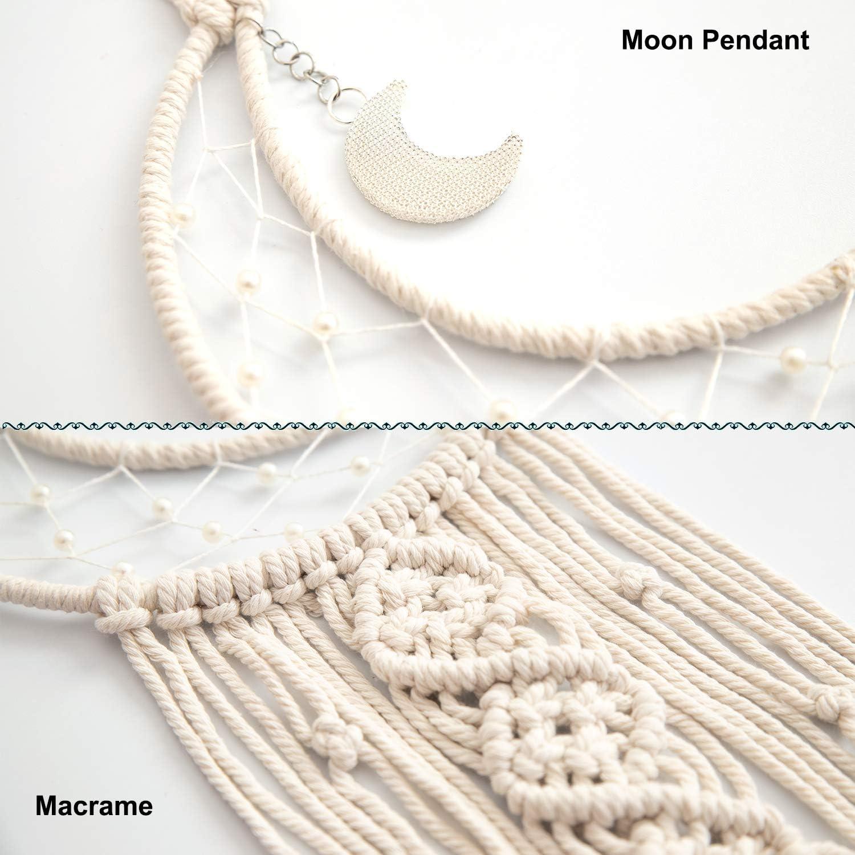 TEESHLY Handmade Woven Cotton Dream Catchers Beige Moon Boho Macrame Dreamcatchers Wall Hanging Home Decoration Ornament Craft Gift