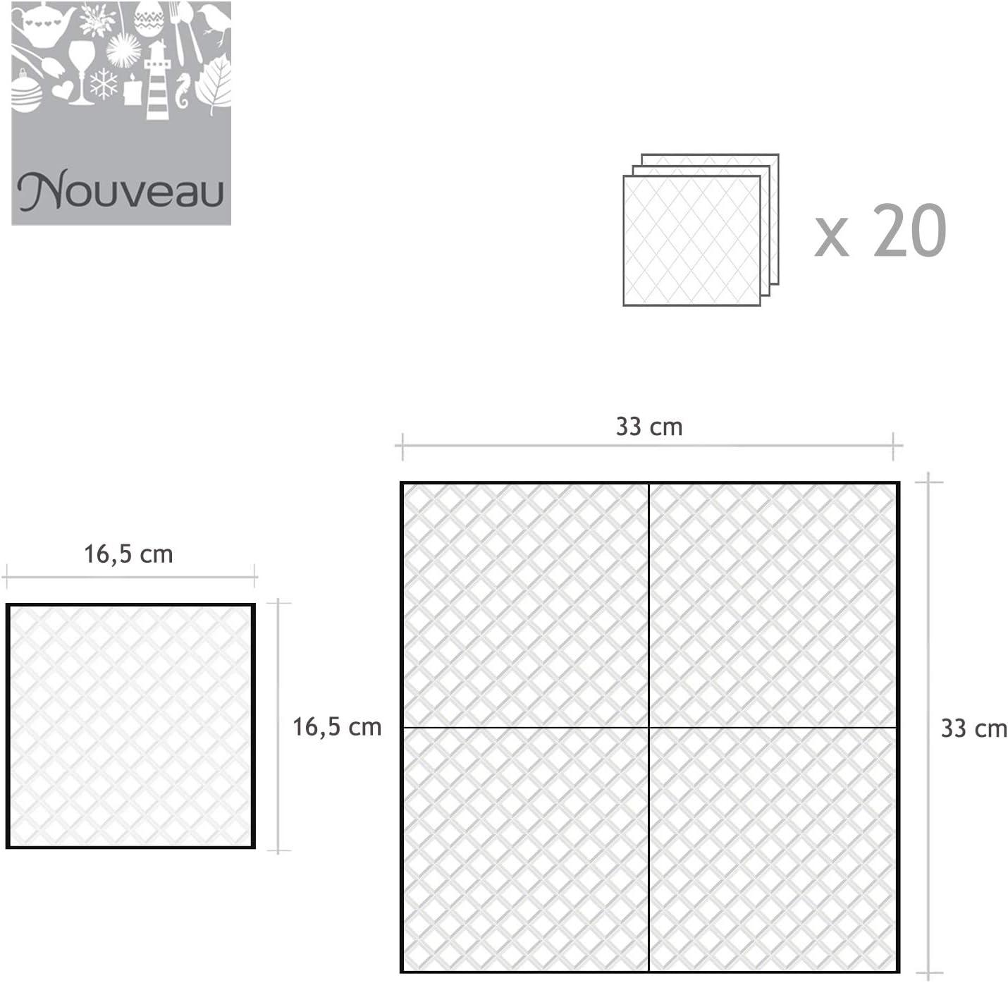 Tovaglioli di carta monouso 20 pezzi 3 strati 33 x 33 Nina