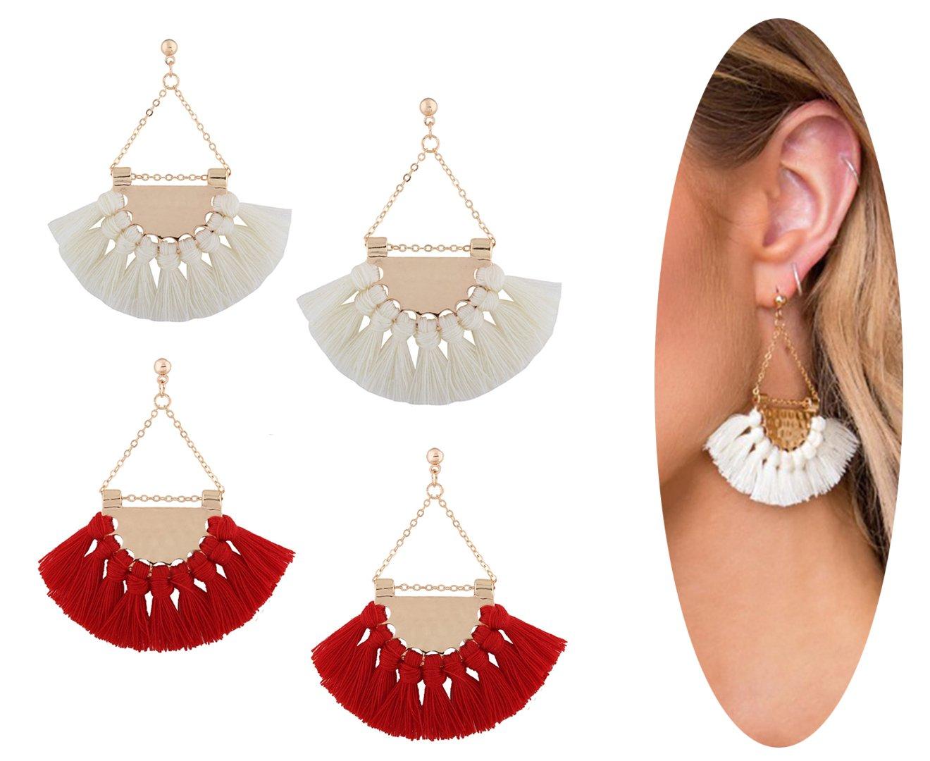 Youniker Womens Tassels Earrings Girls Bohemian Tassel Drop Vintage Retro Tassel Dangle Boho Drop Earrings Eardrop for Women (Red+White)