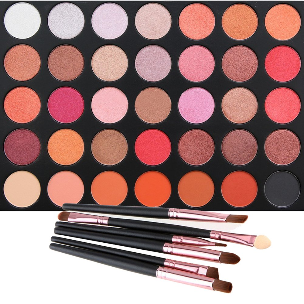35 Color Eyeshadow Palette with 6 PCS Eye Brushes, Vodisa Makeup Matte and Shimmer Eye Shadows Smoky Warm Color Glitter Kit Make Up Brush Set Waterproof Beauty Cosmetics High Pigment Powder Pallet 35F VONISA