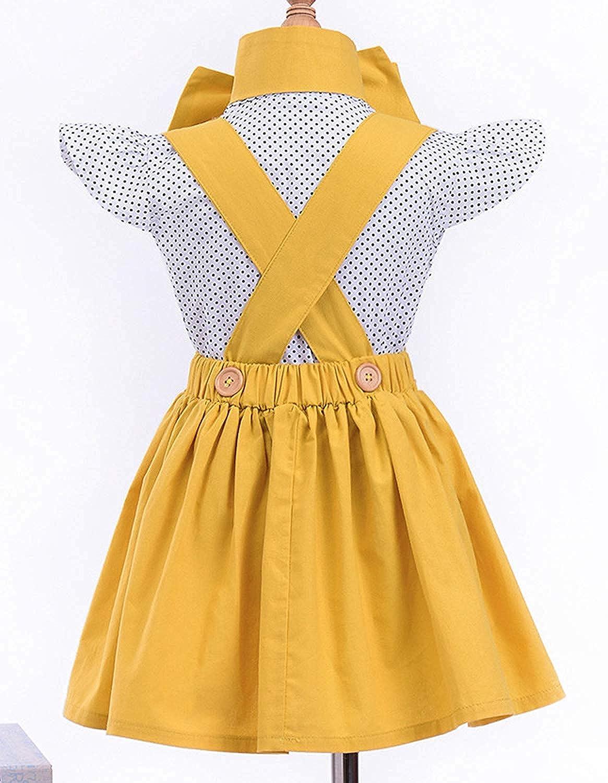 Baby T-Shirt Strap Dress 2Pcs//Set Toddler Girl Long Sleeve Ruffle Top Overalls Plaid Skirt Clothes Set