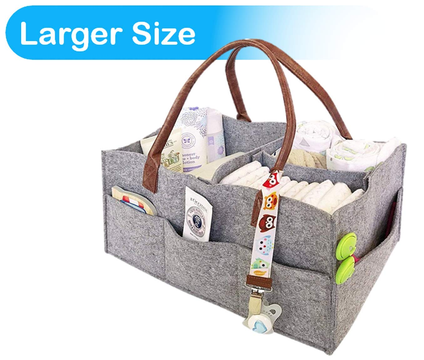 Foldable Baby Diaper Caddy Organiser with changeable compartments, Nappy organizer basket for changing nappy, Large portable grey felt nursery storage bin with removable inserts for wipes, toys, table and car caddy bag, Newborn shower gift, box, pail Priv