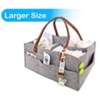 Foldable Baby Diaper Caddy Organiser with changeable compartments, Nappy organizer basket for changing nappy, Large portable grey felt nursery storage bin with removable inserts for wipes, toys, table and car caddy bag, Newborn shower gift, box, pail
