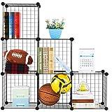 LANGRIA Modular Cube Shelving Grids, DIY Closet Organization System, Metal Wire Storage Cubes Organizer, Bookcase, Cabinet, (6 - Regular Cube)