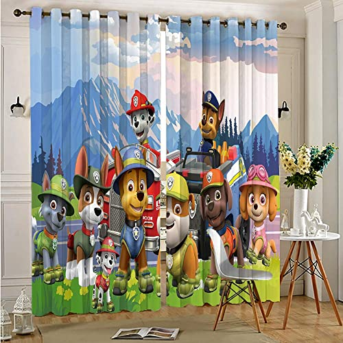 Zmacdk Soundproof Curtains for Bedroom Paw Patrol Waterproof Fabric W84 x L84 Inch Grommet Top Blackout Curtains