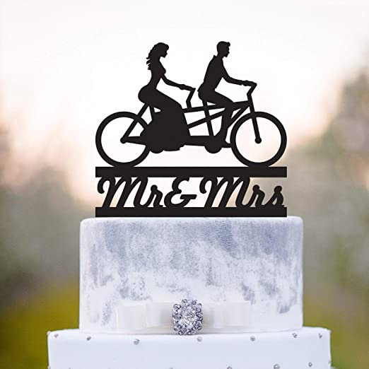 Decoración para tarta de boda con diseño de Mr y Mrs Tandem para ...