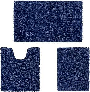 HOMEIDEAS 3 Pieces Bathroom Rugs Set Ultra Soft Non Slip and Absorbent Chenille Bath Rug, Navy Blue Bathroom Rugs Plush Bath Mats for Tub, Shower, Bathroom