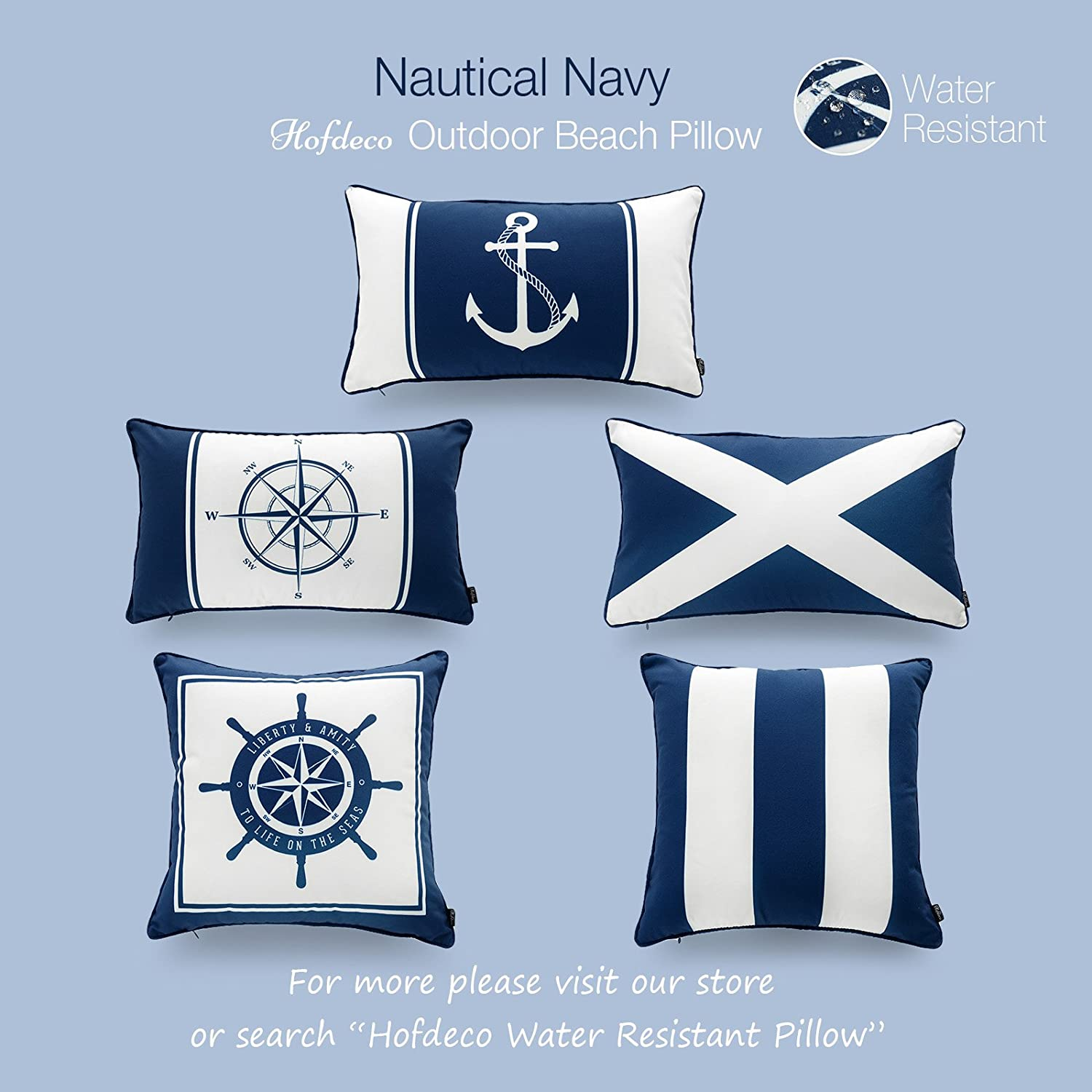 Hofdeco Nautical Indoor Outdoor Pillow Cover ONLY Set of 4 Water Resistant for Patio Lounge Sofa Navy Blue Flag Anchor Compass Stripes 18x18 12x20