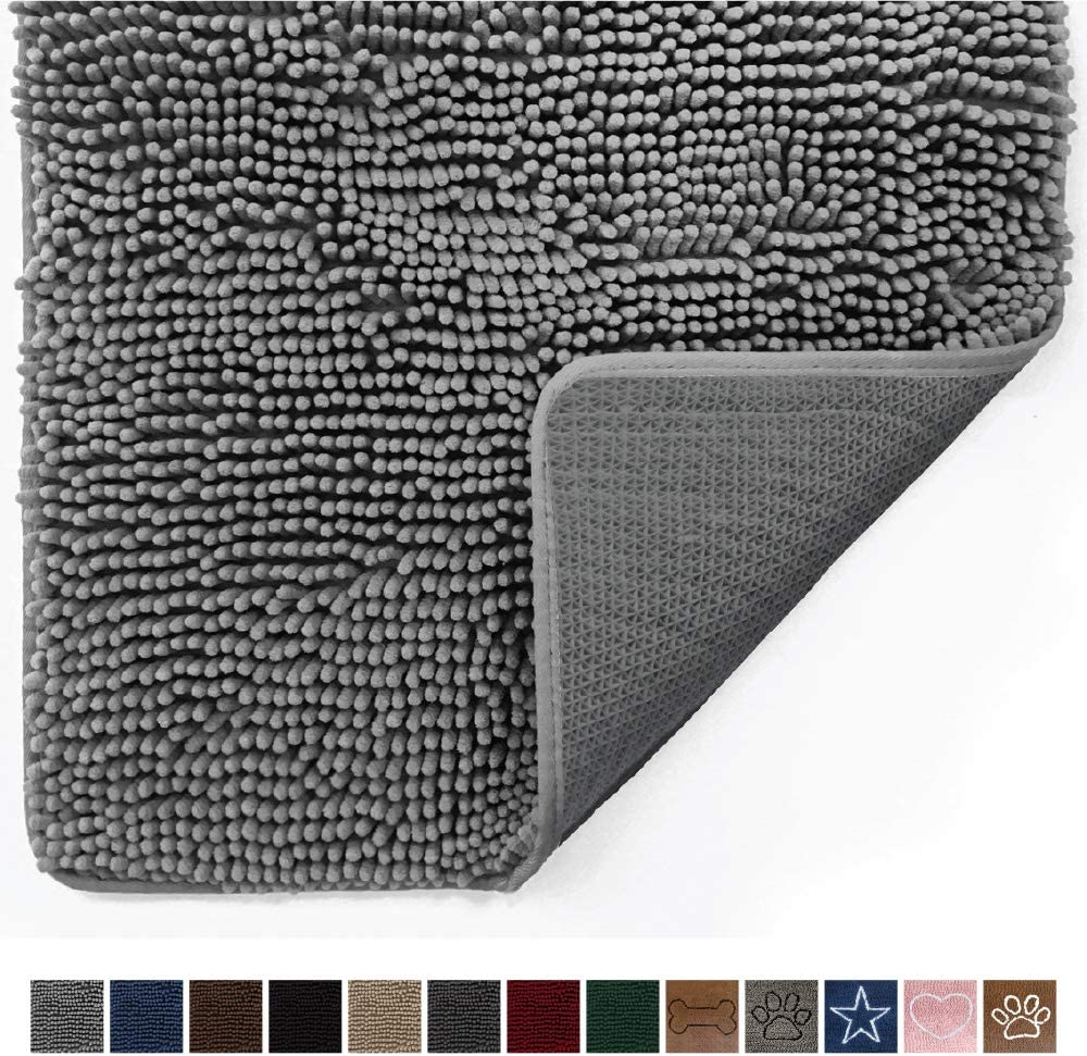 Gorilla Grip Original Indoor Durable Chenille Doormat, 60x36, Absorbent Machine Washable Inside Mats, Low-Profile Rug Doormats for Entry, Mud Room Mat, Back Door, High Traffic Areas, Gray