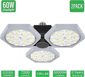 2-Pack LED 360W Deformable Shop Garage Lights