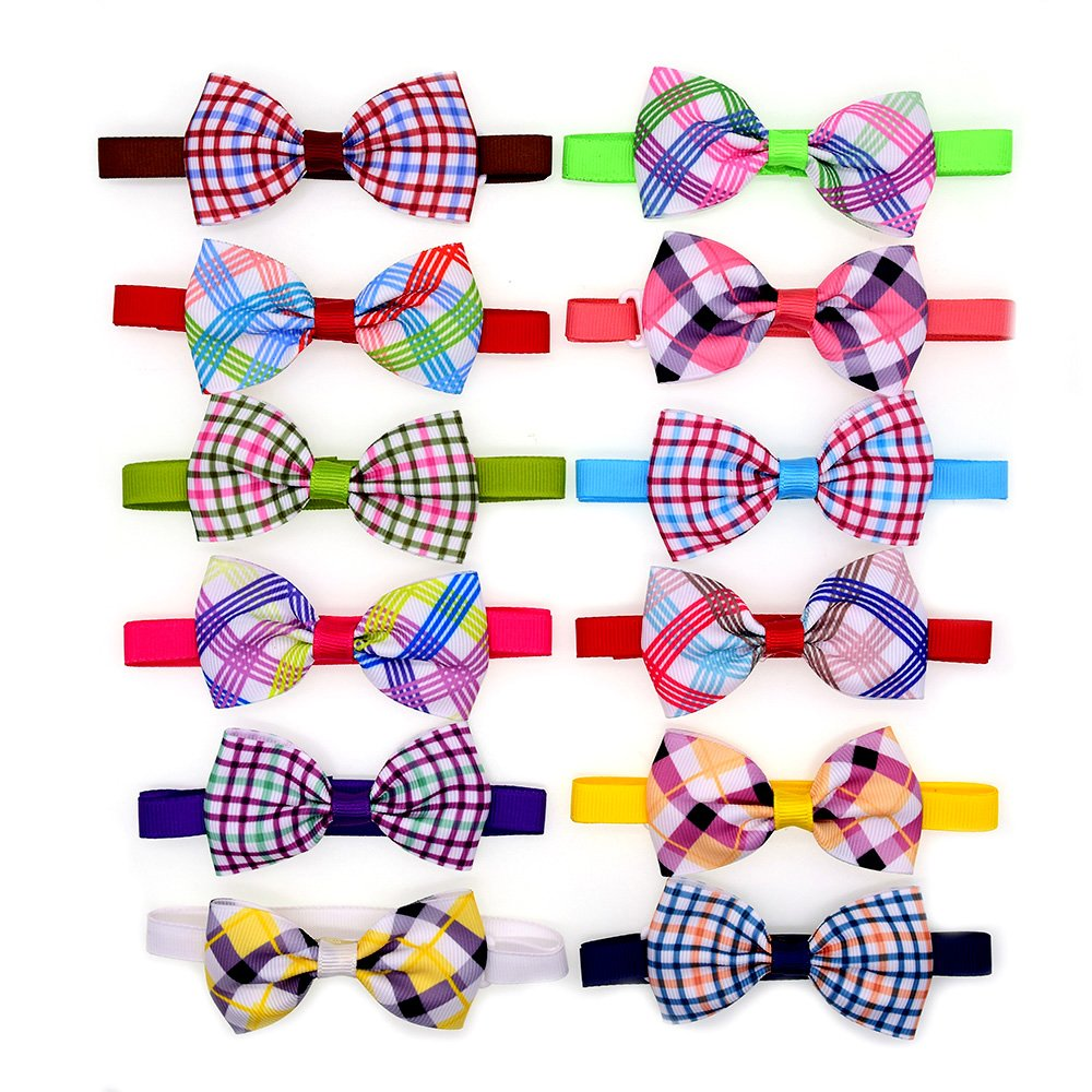 10pcs/pack Classic Plaid Style Pet Puppy Dog Cat Bow Ties Adjustable Dog Bowties Pet Grooming Accessories