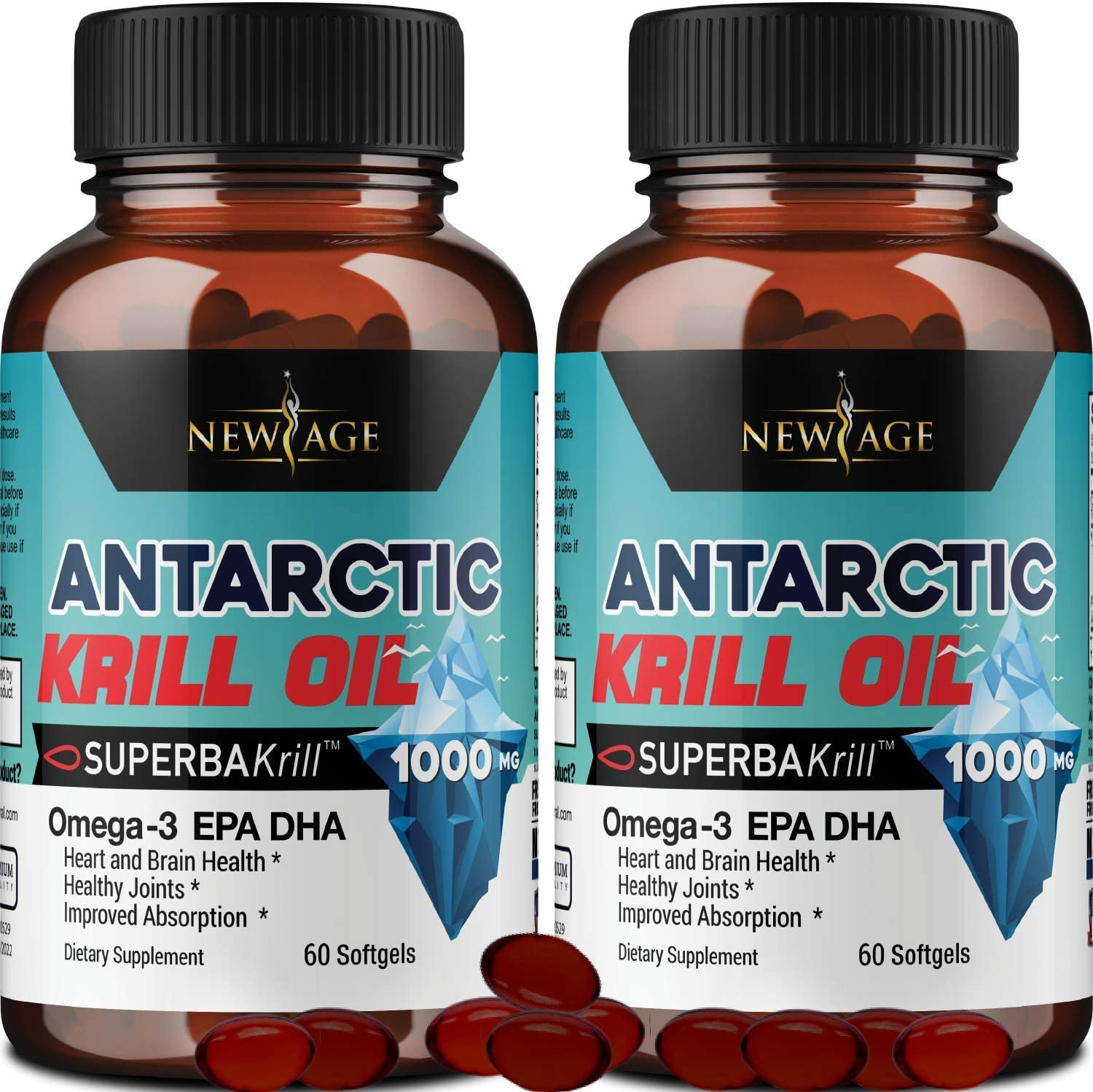 Amazon Com 2 Pack Pure Antarctic Krill Oil 1000mg With