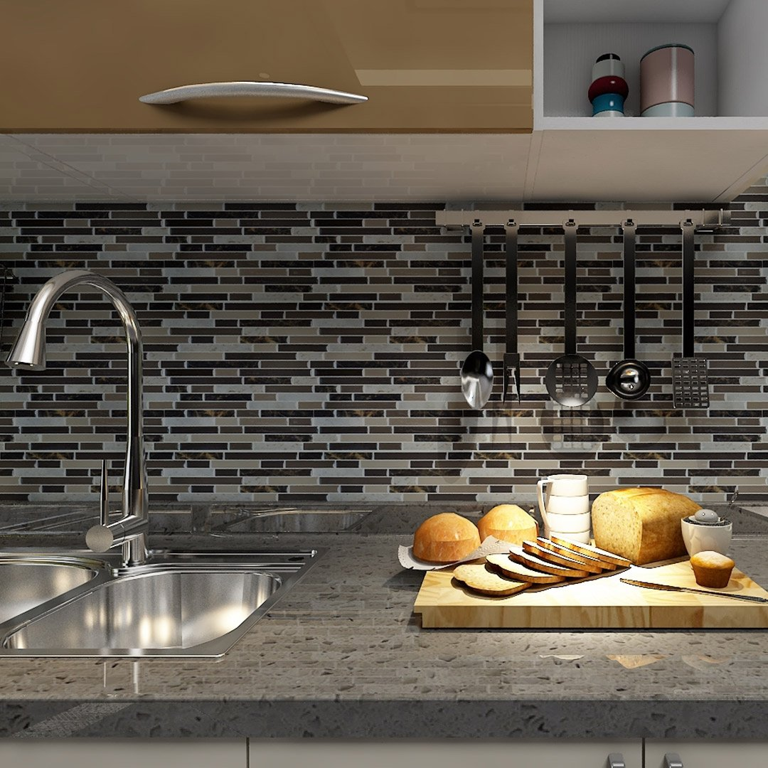 """Self Adhesive Wall Tiles Peel And Stick Backsplash Kitchen: Art3d 12""""x12"""" Self Adhesive Wall Tile Peel And Stick"""