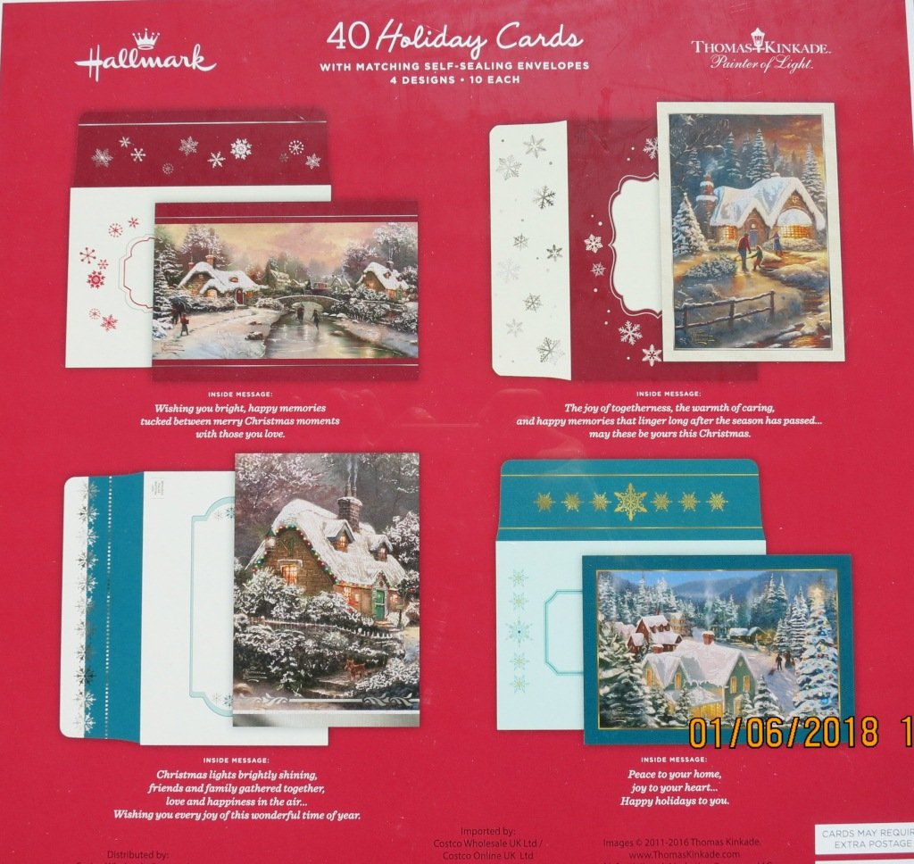 amazoncom hallmark christmas cards with envelopes 4 design 40 cards thomas kinkade snow white office products - Costco Holiday Cards