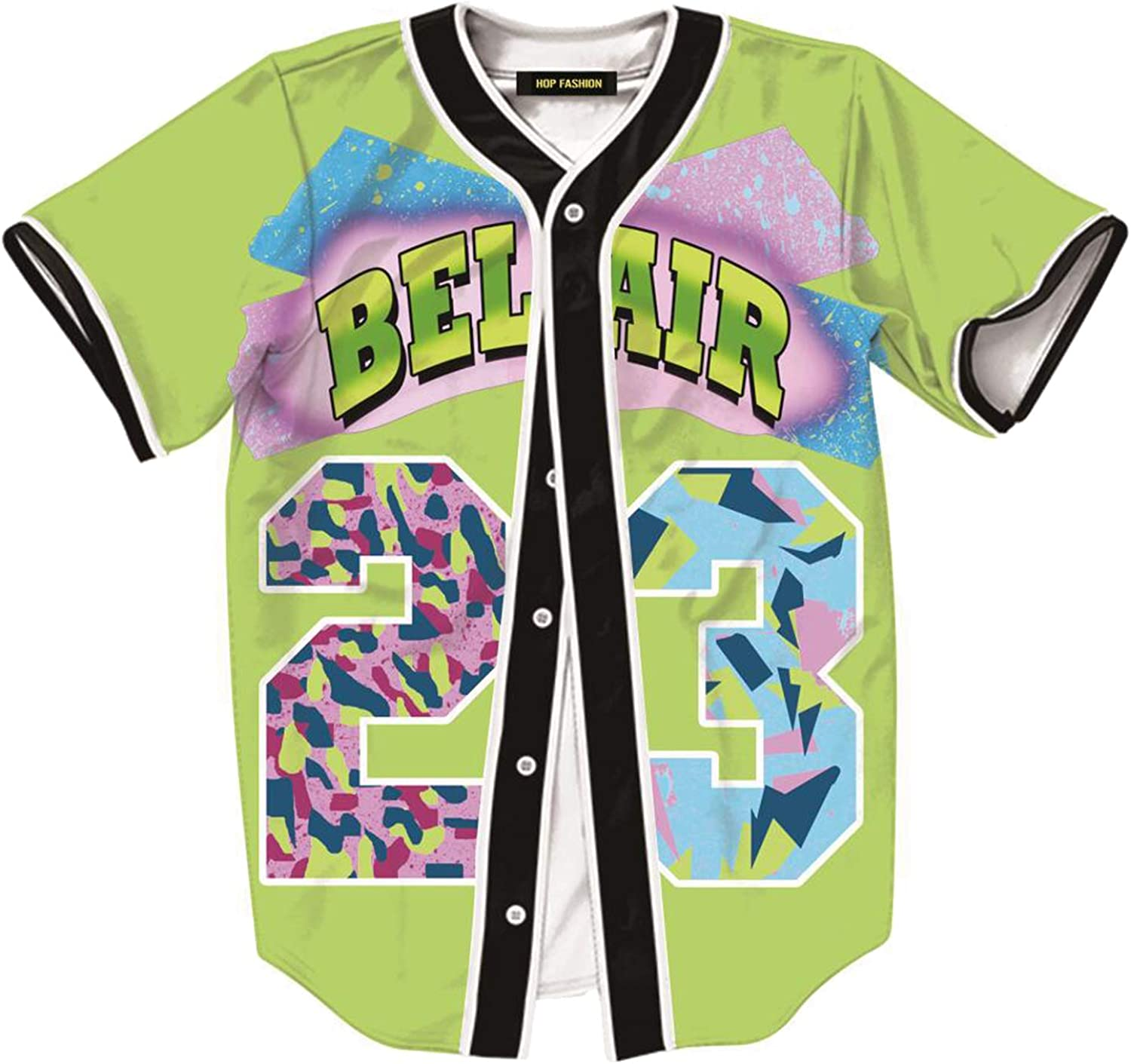 HOP FASHION Unisex 90s Theme Party Hip Hop Bel Air Baseball Jersey Short Sleeve Tops for Birthday Party