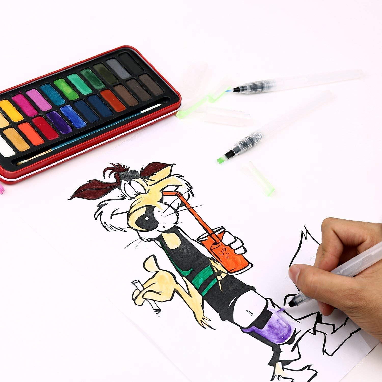 acquerelli pigmenti acquerelli set di 6 pennelli per pittura ad acquerello per matite colorate PQZATX Pennelli per colorare ad acqua