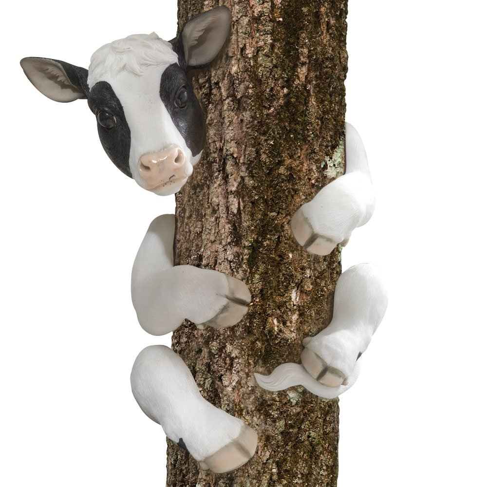 Bits and Pieces-Tree Hugger Cow Garden Peeker-Polyresin Outdoor Tree Sculpture - Whimsical Garden Decoration