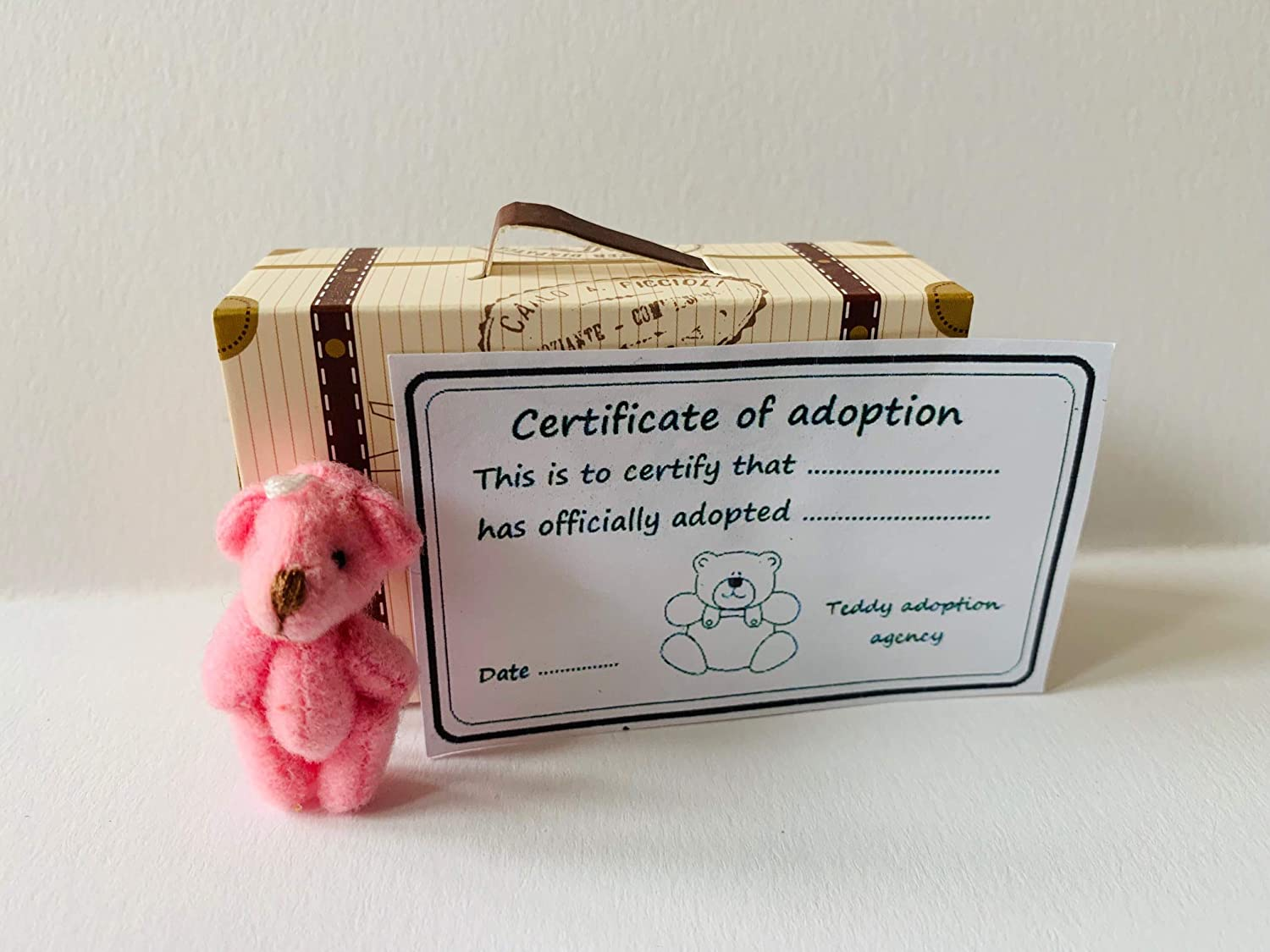 Tiny Pink Teddy Bear with Adoption Certificate in Cardboard Suitcase