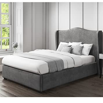 Super Safina Wing Back Double Ottoman Bed In Dark Grey Velvet Theyellowbook Wood Chair Design Ideas Theyellowbookinfo