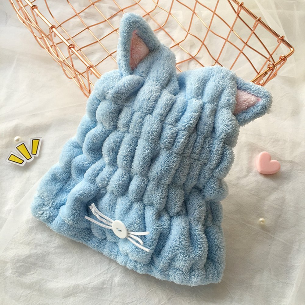 Mintbon Bath Towels Hair Towel, Fast Drying Hair Wrap, Quick Dry Hair Towel Hat for Bath Spa Swimming, Super Absorbent Microfiber Shower Hat Magic Drying Wrap, Cat Ear Shape, Blue