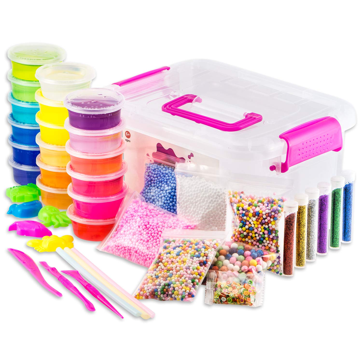 Ultimate Slime Kit For Girls - DIY Slime Making Kits With Everything You Need - Make Your Own Fluffy Slime Supplies For Kids With 18 Colors, Glitter and Foam Balls - Educational Sensory Safe Toy Set