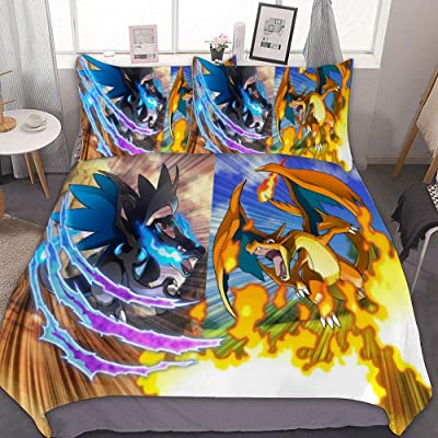 MEW Anime Poke-mon Twin Bedding Duvet Cover Set,Charizard X Y (3),3 Pieces Bedding Set,with Zipper Closure and 2 Pillow Shams,Cute Boys Girls Comforter Sets,Luxury Guestroom Decorations: Kitchen & Dining