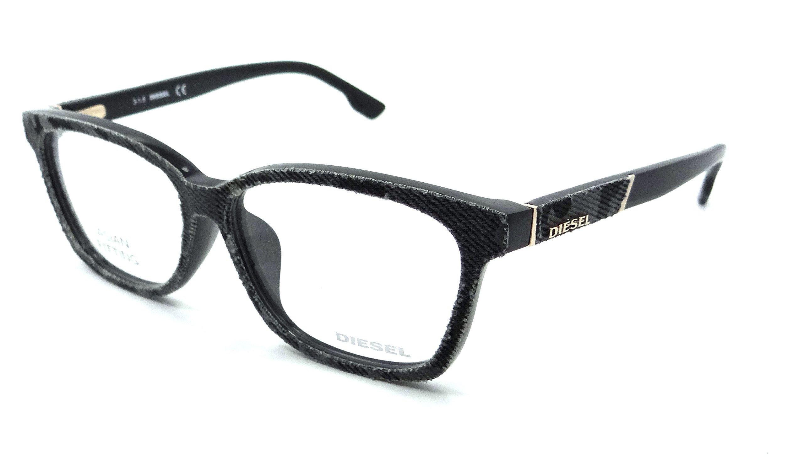 Diesel Rx Eyeglasses Frames DL5137-F 020 58-14-145 Grey Black Denim Asian Fit