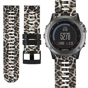 Correa de repuesto para Garmin Fenix 3, correa de silicona suave deportiva para reloj inteligente Garmin Fenix 3/Fenix 3 HR/Fenix 5X GPS: Amazon.es: ...