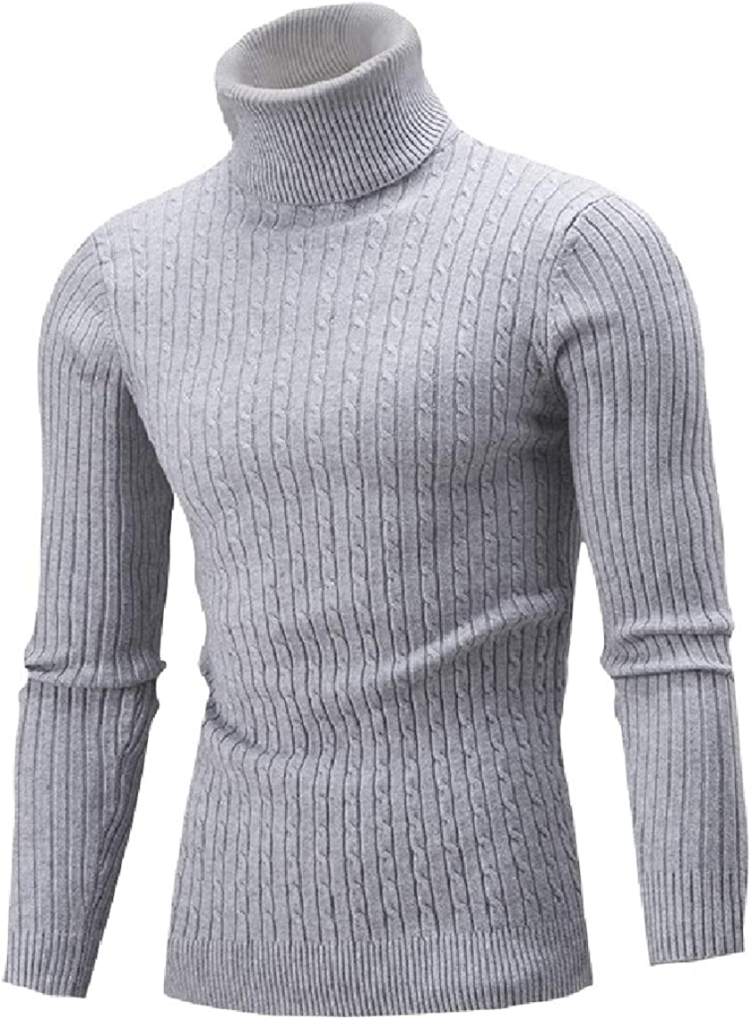 Nicelly Mens Slim Pullover Knitting Mock Neck Long Sleeve Solid Sweater