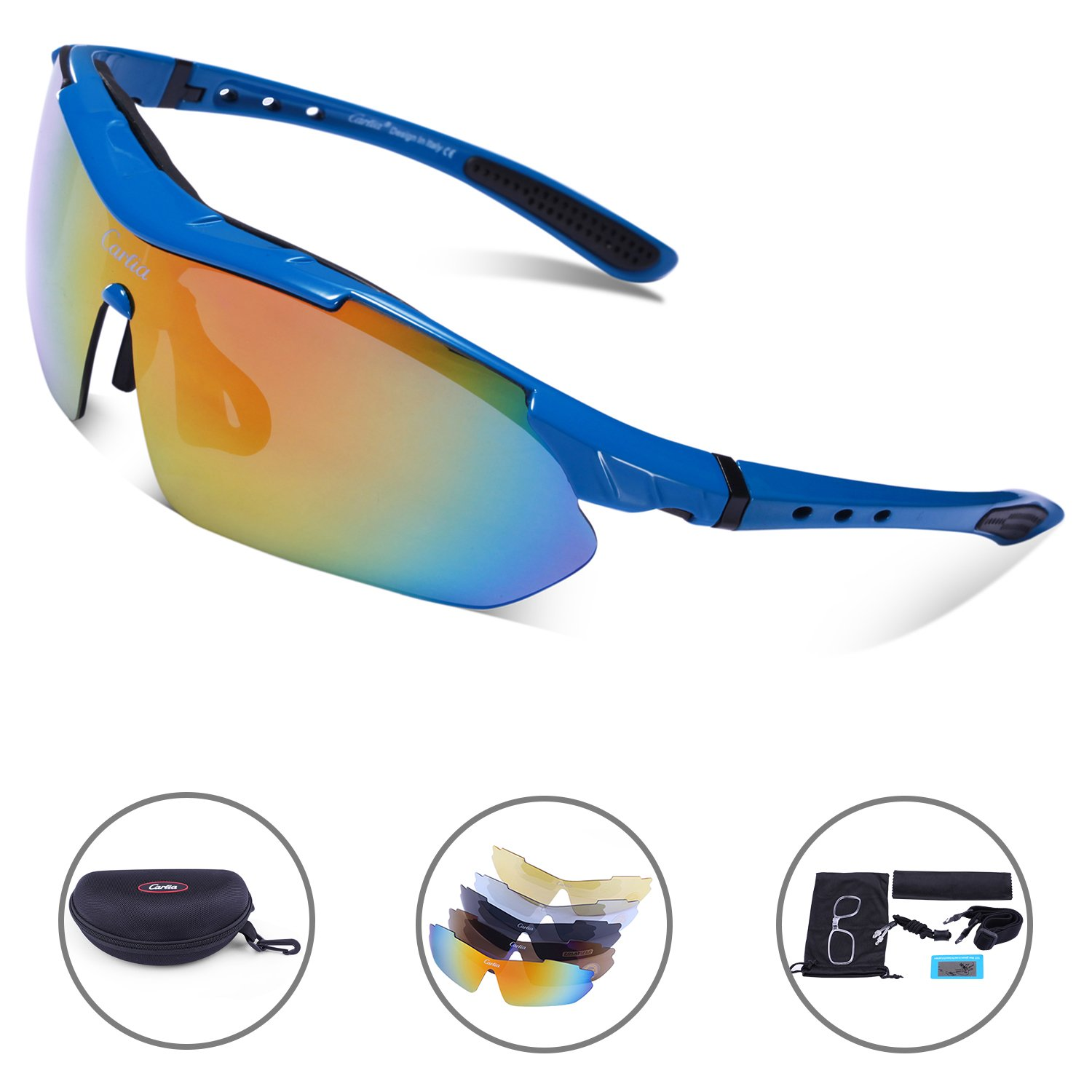 Carfia Polarized Sport Sunglasses UV400 Cycling Glasses for Men Women Lightweight Cool Frame with 5 Lens (Blue, Multicoloured) by Carfia