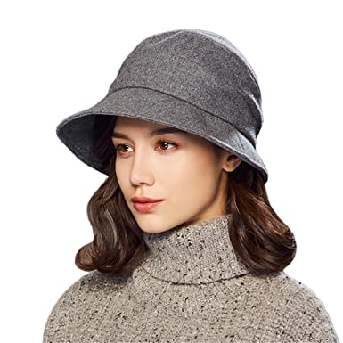 Kenmont Women s Bucket Hat Elegant Wool Cloche Winter Hats Short Brim  Slouchy Fedora Cap (Grey 75e383ea906