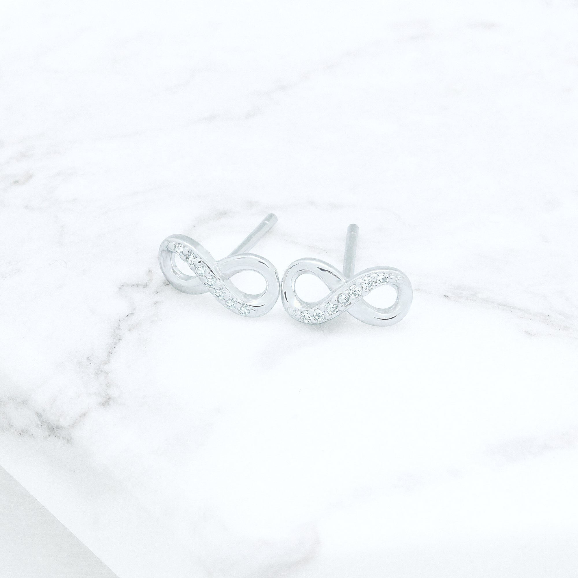 Rhodium Plated Sterling Silver Cubic Zirconia Half Set Infinity Stud Earrings by Spoil Cupid (Image #3)