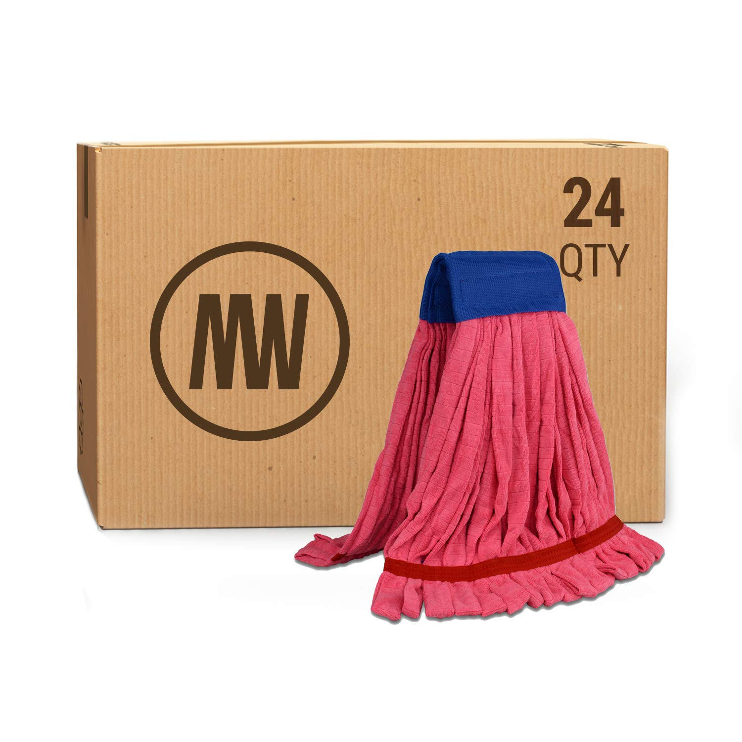 Bulk Large Microfiber Tube Mop Head | Wholesale Commercial Industrial Wet Mops | Machine Washable | Red | Case Quantity (24 Count) by Microfiber Wholesale