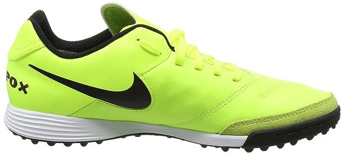 Nike Tiempox GenioII Leather TF, Scarpe da Calcio Uomo, Giallo (Vert Volt/Black-Vert Volt), 39 EU