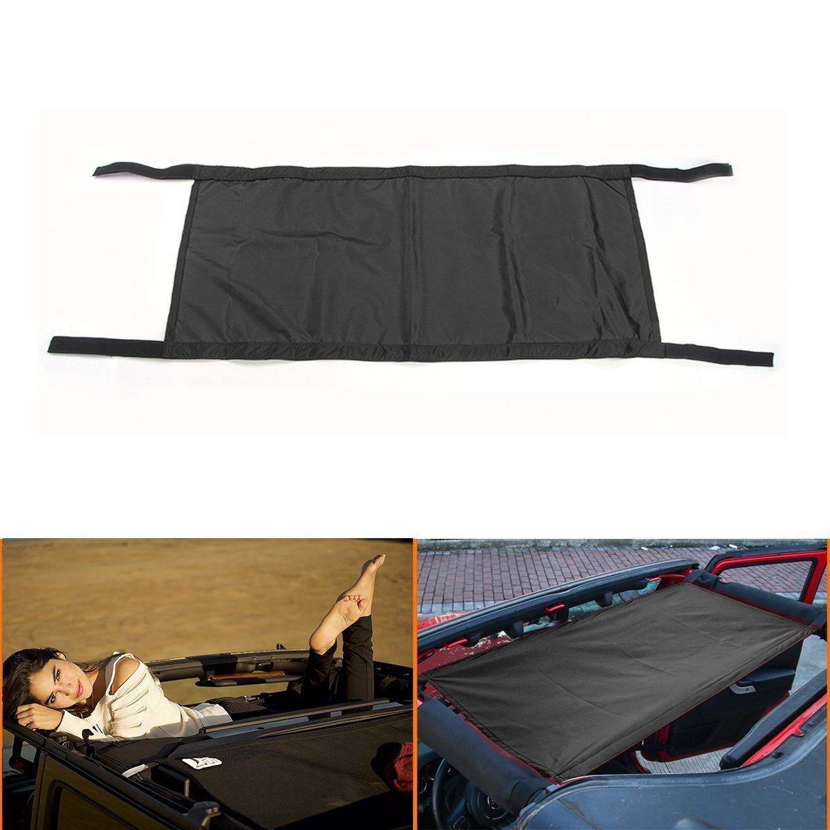 LITTOU Neuer Stil Schwarz Schwerlast Universal wasserdicht Auto Dach Hängematte Auto Bett Sich ausruhen Für Wrangler YJ, TJ, JK & JKU Modelle (1987-2017)