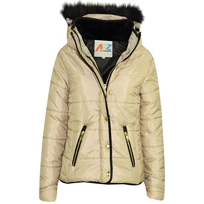 0b8c08b95 Girls Jacket Kids Stone Padded Puffer Bubble Fur Collar Quilted Warm Thick  Coats