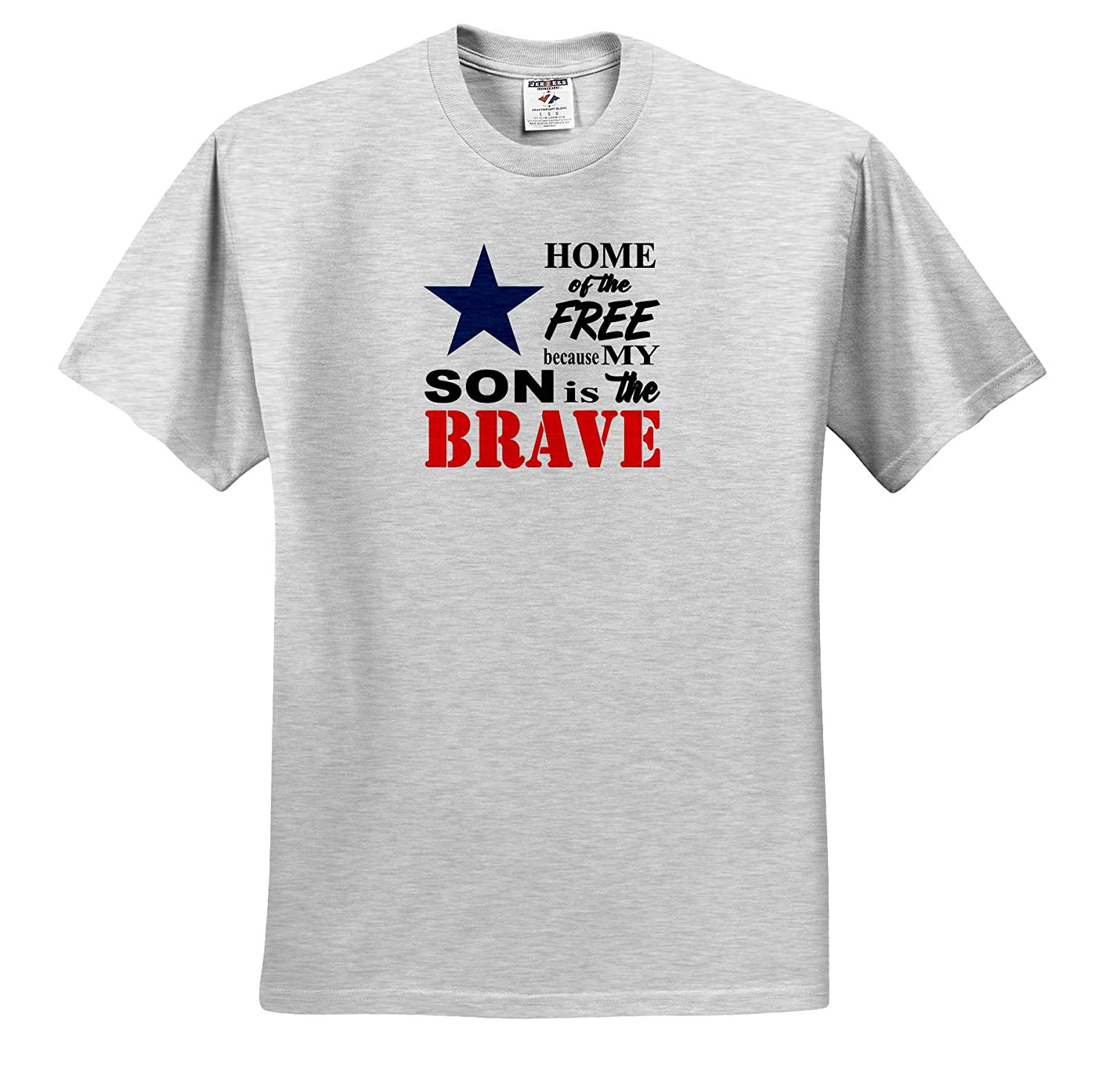 Adult T-Shirt XL 3dRose Amanda Levermann Quotes Home of The Free Because My Son is The Brave Quote ts/_319910